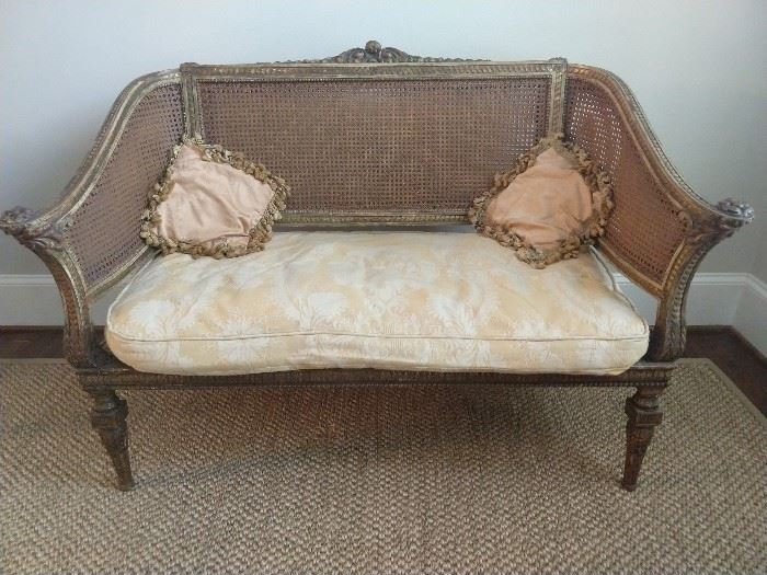 THIS is quite nice! A vintage French settee, with carved gilt wood frame and ALL double cane intact.