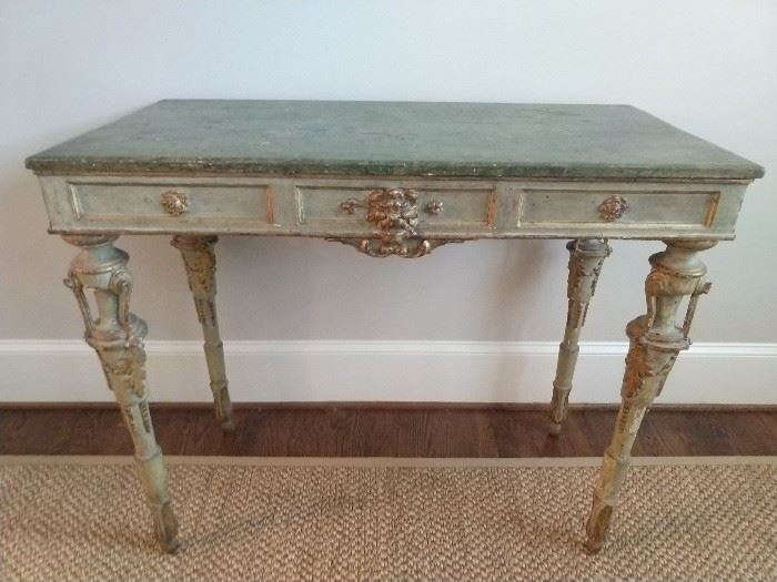 Another wonderful antique French piece! Faux marble top, perfect green patina, with gold accents.