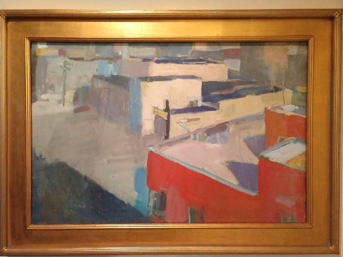 "Contemporary abstract oil on canvas depicting a geometric city scene, in a palette of reds, white and blues, inscribed ""Trevor""on the reverse side; measures 20""h x 30""w, overall dimensions including frame 26""h x 36""w x 2""d."