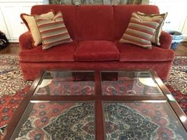 Ethan Allen Mahogany/beveled glass coffee table, vintage Grizzel And Mann sofa.