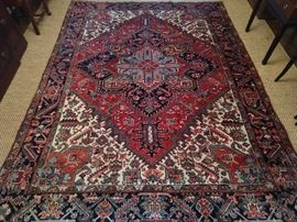 "Gorgeous vintage Persian Heriz rug, hand woven, 100% wool face, measures 8' 2"" x 11' 1""."