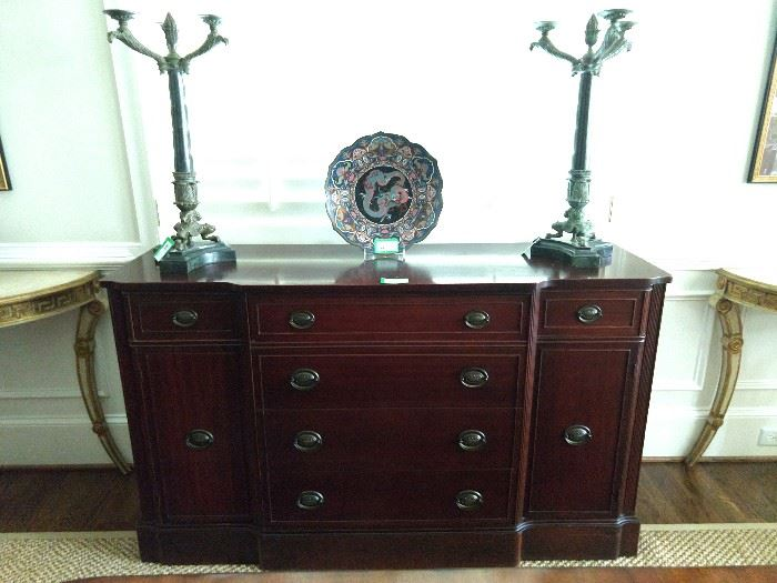 1940's vintage mahogany Drexel New Hampton Court buffet, with pair of large Theodore Alexander 3-light bronze/marble table lamps.
