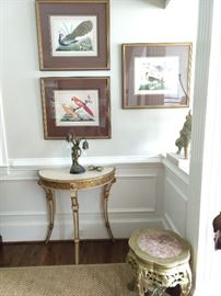 One of a pair of vintage French gilt wood demilune tables, with three of set/6 vintage bird prints, well framed and matted; one pf a pair of Asian low stools, with pink marble tops.