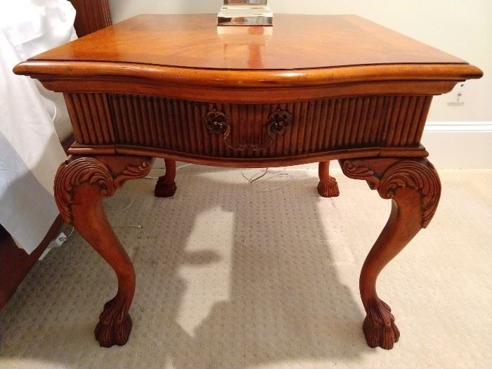 One of a pair of Hickory-White carved/banded mahogany single drawer tables.