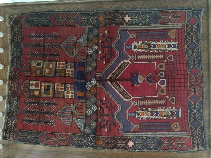 "Vintage hand woven Persian Balouch prayer rug, , 100% wool face, measures 4' 1"" x 2' 11""."