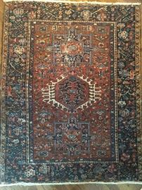 "Great size vintage hand woven Persian Heriz rug, 100% wool face,  measures 4' 6"" x 3' 8""."
