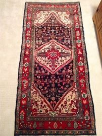 "Vintage Persian Viss rug, hand woven, 100% wool face, measures 3'  x 7' 9""."