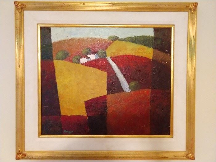 "Original oil on canvas, signed Mauvique (Peruvian, born 1950) depicting houses in the countryside with a palette of red, orange and yellow; measures 20""h x 24"" overall dimensions including frame 28.5""h x32.5""w x 3""d."