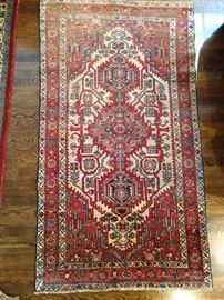 "Vintage Persian Viss rug, hand woven, 100% wool face, measures 3' 2"" x 6' 1""."