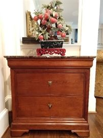 3-drawer chest, with marble top, by Stickley.