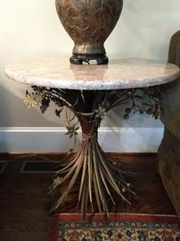 Very cool MCM metal side table, with pink marble top.