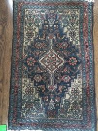 "Vintage Persian tribal Hamadan rug, hand woven, 100% wool face, measures 1'6"" x 2' 9""."