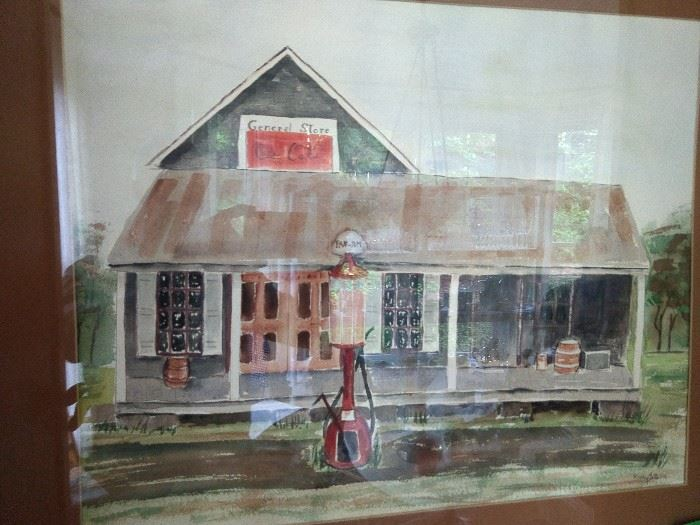 Original watercolor, by Mary Betts, Coca-Cola General Store, nicely framed/matted.