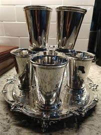 Set/6 English Sheffield silverplated Mint Juleps, on footed silverplated tray.