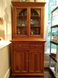 "Wonderful repro heart pine cupboard, with wavy glass, part of The Palmer House Collection, by Lexington Furniture Industries;                                                           measures  32.0"" w x 80.0"" h x 18.0"" d."
