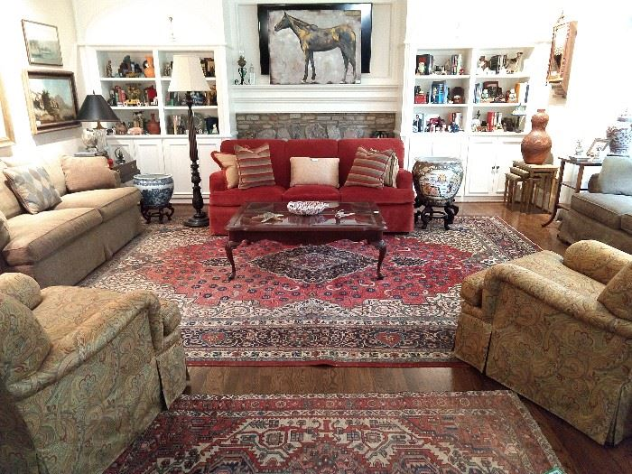 Light-filled den, with Grizzel And Mann sofa, pair of Grizzel And Mann paisley upholstered armchairs, matching Southwood upholstered sofa and loveseat, HUGE 10' x 15' hand woven Persian rug.