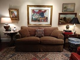 Southwood sofa, that has a matching loveseat, just in case; art by Raschella Collection - cruise ship art at its finest!