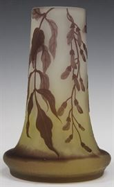 "LOT #5010 - GALLE CAMEO ART GLASS VASE, 9"" H"
