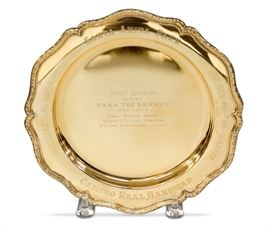 LOT #5075 - 1968 SANTA ANITA PASS THE BRANDY TROPHY PLATE 14KT GOLD, 429 GRAMS