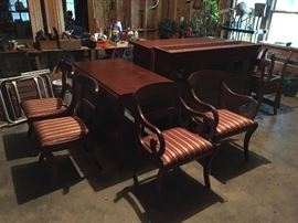 At the client's request, THIS ITEM WILL NOT BE 1/2 PRICE ON DAY TWO  handsome Craftique dining set with hutch, dropleaf table and chairs (this set is in the basement)