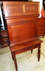 """Antique Plantation Desk. Measures approx. 32.5"""" W x 20"""" D x 65"""" H"""