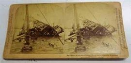 "Antique Stereopticon Card- ""Sinking of the Maine"" (Remember?)"