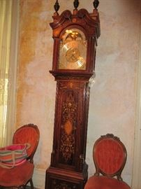 Wonderful European marquetry longcase clock