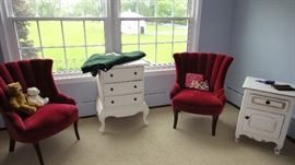 Red side chairs, night stands