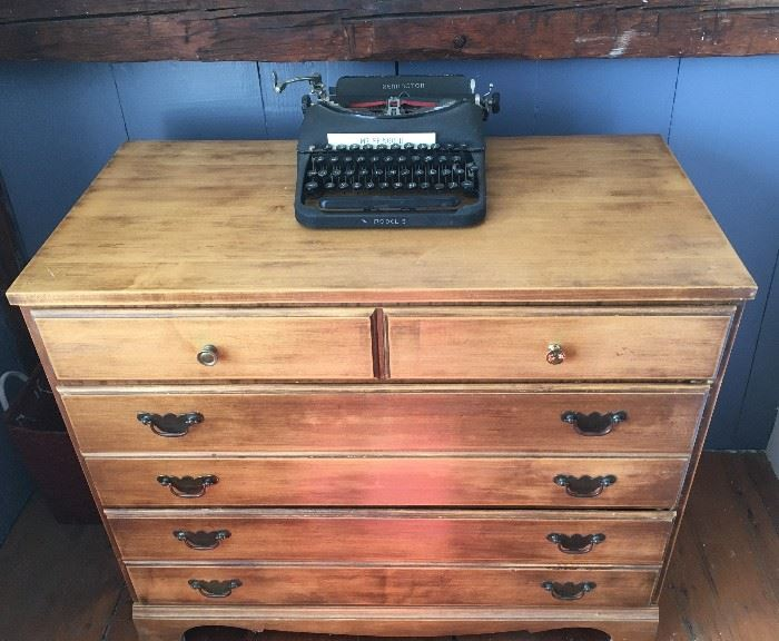 Sixty-year-old bureau.  This one is refinished.  There is a matching one that's unfinished that we are selling as well.