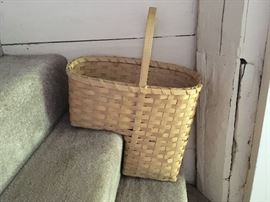 Vermont-made stair basket, perfect for holding cleaning supplies, magazines, and many other items.