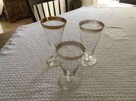 Hate to part with these as we began collecting them in Nyack 40 years ago!  We have 5 small and 6 large goblets and 10 wine glasses.  Will sell as a set or individually.