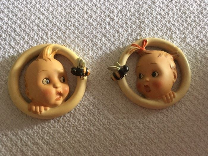 1950s Ba-Bee Girl and Boy ring wall figurines 30/0B and 30/0A.  Excellent condition.  Germany.