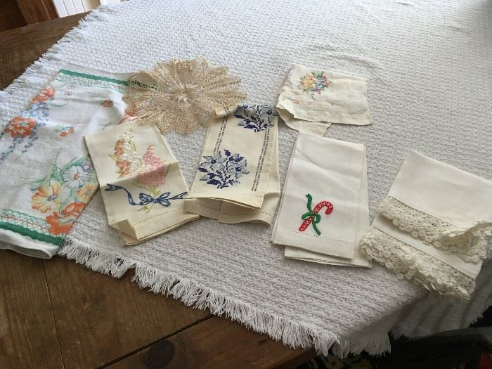 Assorted vintage linens will be for sale.