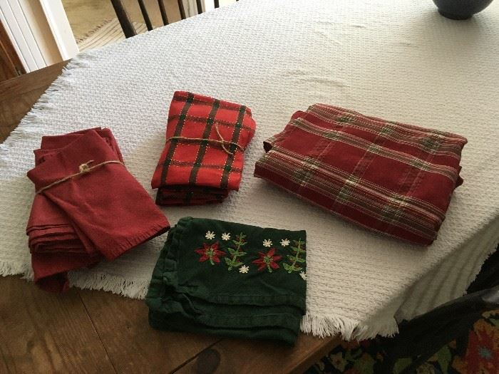 Assorted Christmas linens will be for sale.