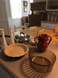 We will have lots of cooking utensils, pots/pans, bakeware, cookware and decorative kitchen and dining items for sale!  This is just a small sample.
