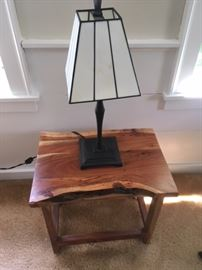 Cool and new little end table for sale.  Table lamp is not for sale.