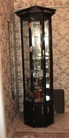 Black lacquer pagoda style curio cabinet