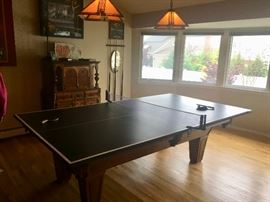 Pool table with ping pong topper