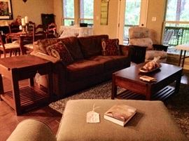Broyhill Sofa, Lane Coffee Table & End Table, and other household furnishings