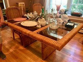 Fantastic Mid-Century Bamboo & wood Dining room set & furniture in great shape