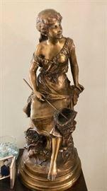 Auguste Moreau Bronze La Pecheuse de Crevettes