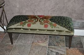 "Horchow peacock bench; 44"" x 16"" x 18""; exceptional custom detail and ornate beadwork; originally $1,000; take this peacock and let its feathers fan out in all its beauty for $500!"