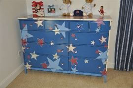 "All-American, Star Spangled custom-painted Room & Board dresser; 60"" x 20"" x 42""; 10 drawers; maple wood painted with steel framing; custom star drawer pulls; available for $600!"