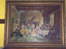 Large vintage oil painting
