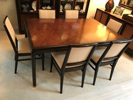 John Stuart Danish mid century mahogany dining table with 2 leaves and 8 chairs (2 captains) - $ 575.00