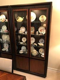 John Stuart Danish designer mid century lighted display / china hutch - $ 425.00