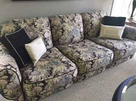 Oversized 3 cushion couch with leather piping