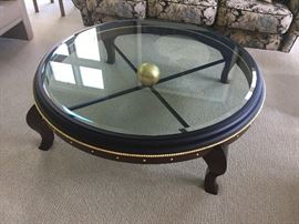 "Round glass topped coffee table - 48"" round"