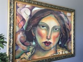 Large framed gilcee by artist - Miguel Martinez