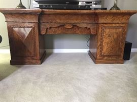 Antique Double pedestal sideboard - Faded Mahogany - 4 drawers and 2 cabinets - able to separate into 4 pieces (top, 2 pedestals and center area - easy to transport)